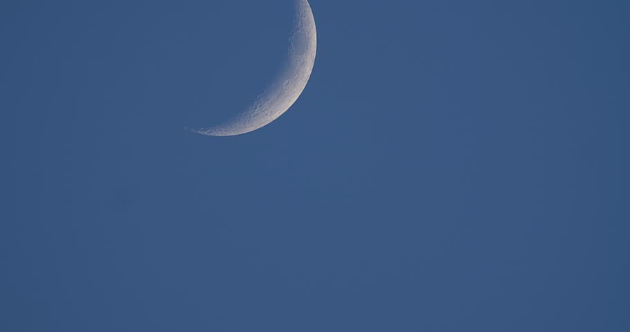 August Sturgeon Moon, 17.5% Full.  Waxing Crescent.  | Shutterstock HD Video #1015199683