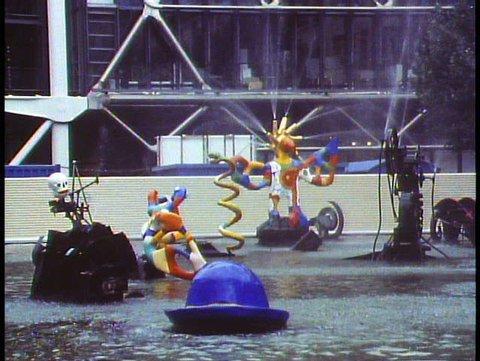 PARIS, FRANCE, 1988, George Pompidou Center, kinetic fountain, colorful