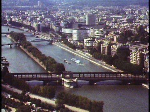 PARIS, FRANCE, 1988, View over Paris from the Eiffel Tower, Seine River