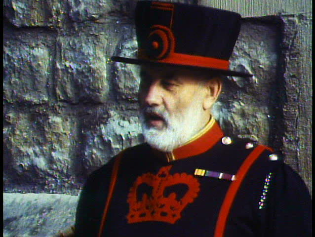 LONDON, ENGLAND, 1988, Beefeater, Yeoman Warder, talking, close up