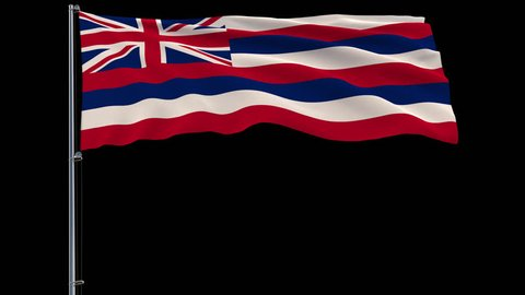Isolate flag of United States Hawaii on flagpole fluttering in wind, 3d rendering, 4k prores 4444 footage with alpha transparency