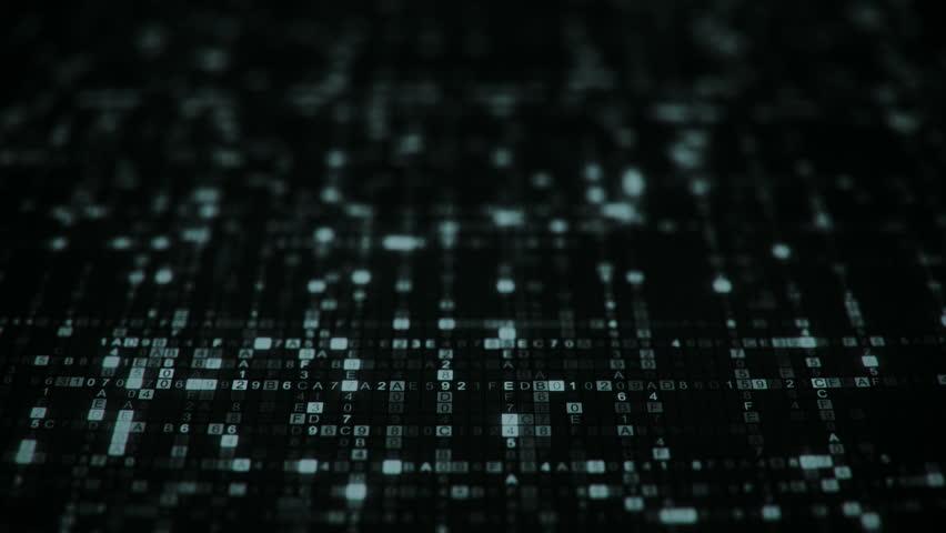 Hexadecimal digital code symbols. Dolly shot. Futuristic big data information technology concept. Seamless loop animation 4k (4096x2304) #1015220863