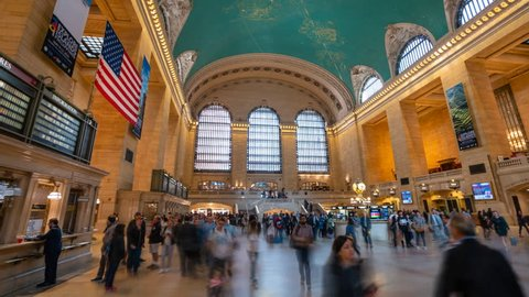 New York, USA - May 10, 2018: 4k hyperlapse video of commuters at Grand Central Station in New York