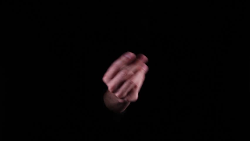 Hand Gestures coming out of the dark into the light. Finger Snap.