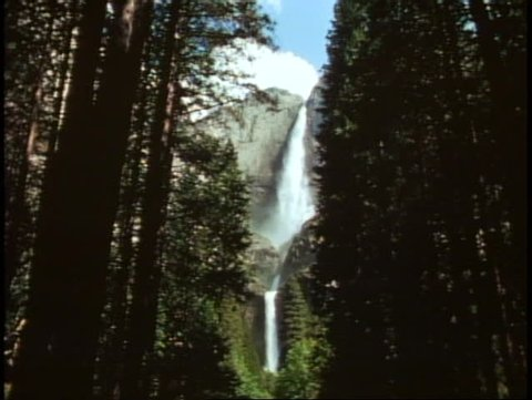 YOSEMITE NATIONAL PARK, CALIFORNIA, 1978, wide view of upper and lower falls