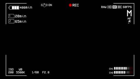 Camera recording screen, viewfinder, high detailed, UHD, 4K, 60FPS, looping