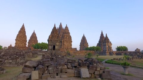 Wide view of Prambanan Temple with ruins as its foreground