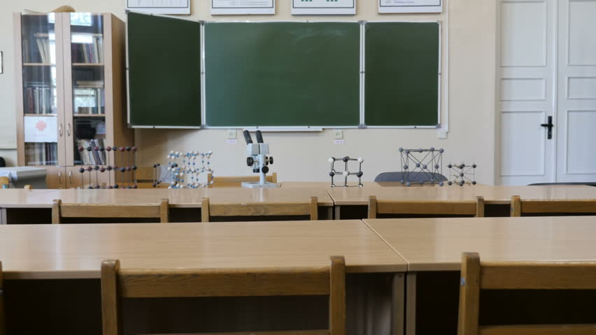 The view of empty chemical, physical classroom or laboratory with microscope and molecular structures in School, College, University    Shutterstock HD Video #1015387423