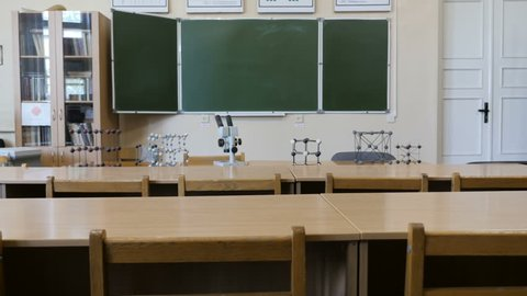The view of empty chemical, physical classroom or laboratory with microscope and molecular structures in School, College, University