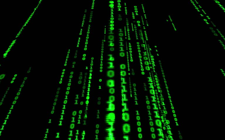Digital binary data, streaming code background. Matrix background. Programming / Coding / Hacker concept. Cyberspace with green digital falling lines, abstract background, binary chain. Crypto space. | Shutterstock HD Video #1015388413