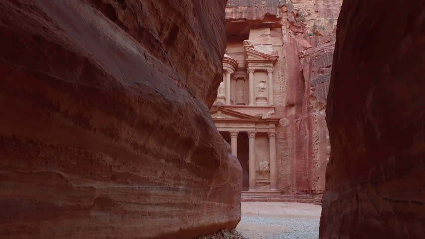 Petra - ancient city, view of Treasury from As Siq gorge. Jordan. | Shutterstock HD Video #1015467943