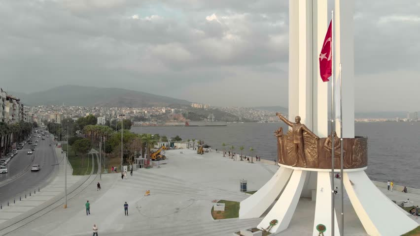 Izmir / Turkey - May, 2018: Newly renovated Karsiyaka monument.