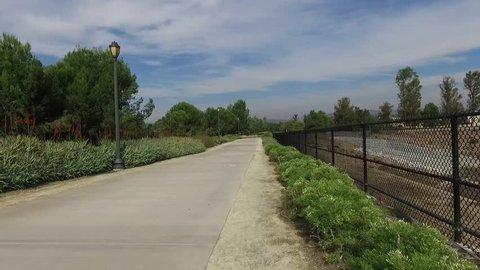 Aerial of Irvine Orange County California Residential Neighborhood Sidewalk.mov