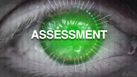 Close up of an eye focusing on Assessment concept on a futuristic screen.