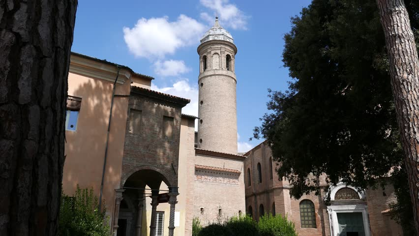 The tower of the Basilica of San Vitale in Ravenna, a sample of Byzantine architecture. Italy