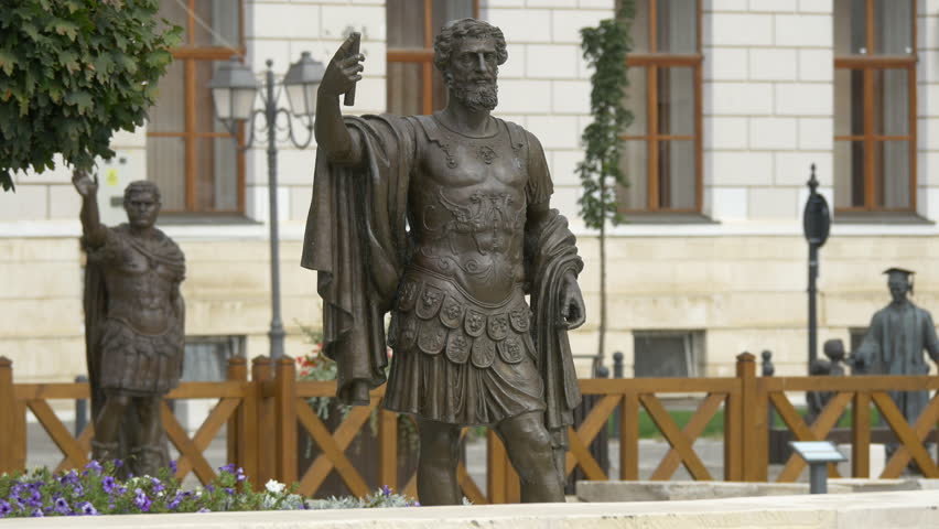 Alba Iulia, Romania - September, 2016: Bronze statues of Roman soldiers #1015597453