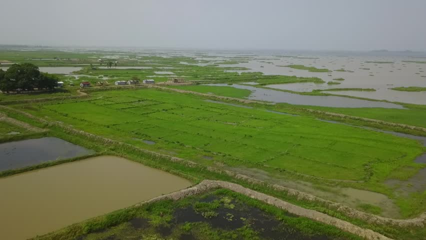 Moirang, MANIPUR / India - 07 13 2018: ariel view of loktak lake