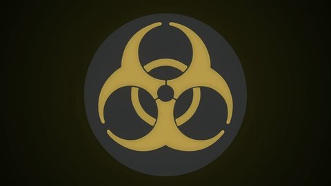 Round Rotating Nuclear and Biohazard Sign. Grunge biohazard symbol. Nuclear reactor symbol. Grunge biohazard sign