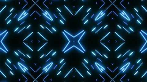 Kaleidoscopes background with animated glowing neon colorful lines. Kaleidoscopes background with animated glowing neon colorful lines and geometric shapes