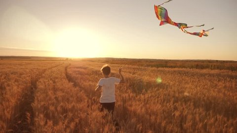 A boy runs across the field at sunset with a kite flying over his head. A chidhood dream. Kids Games