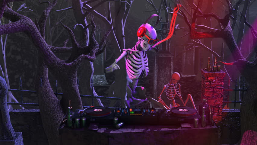 Seamless animation of a skeleton dijing with turntables in a cemetery at night. Funny halloween background. #1015708753