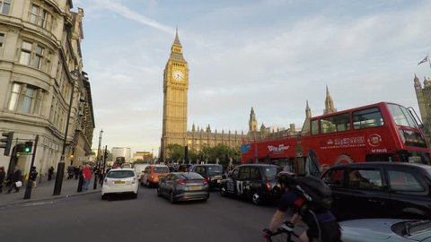Big Ben, Time Lapse of 4 minutes, 4k - [10-10-2016, 15:00, London, City of Westminster, United Kingdom, Traffic, Tourist and Metropolis Life]