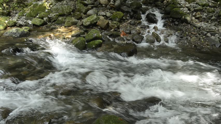 Tributary flowing through among stones into fast flowing brook in Kagoshima
