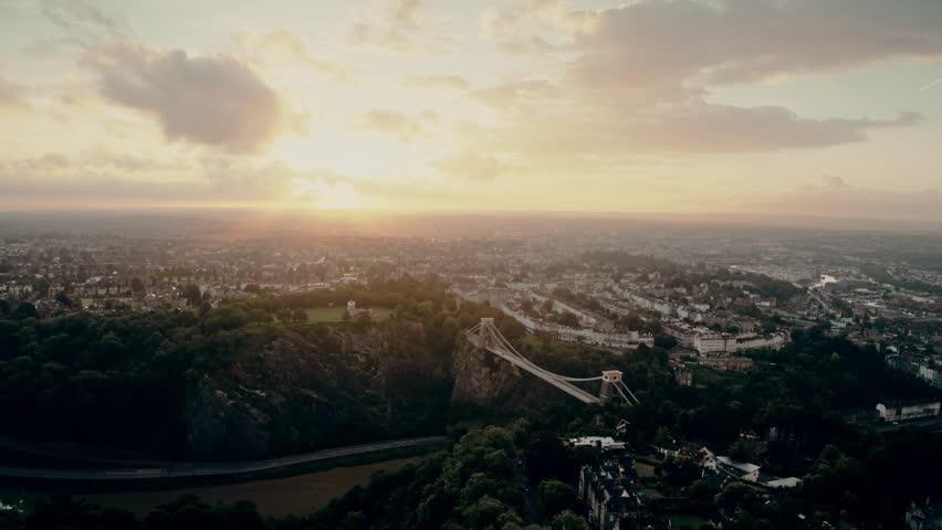 Aerial view of Clifton Suspension Bridge, Bristol, United Kingdom | Shutterstock HD Video #1015781173