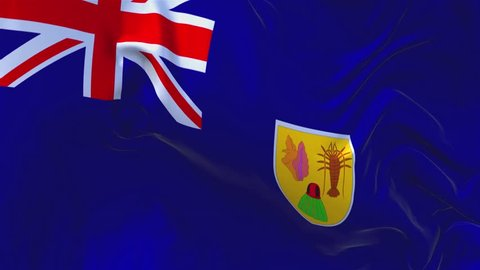36. Turks and Caicos Islands Flag Waving in Wind Slow Motion Animation . 4K Realistic Fabric Texture Flag Smooth Blowing on a windy day Continuous Seamless Loop Background.