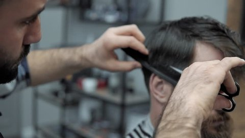 Close-up of barber cuts the hair by scissors at barbershop. Hairdresser's hands at working process. Barber making haircut of attractive bearded man in barbershop. Hairdresser at work. Beauty saloon.