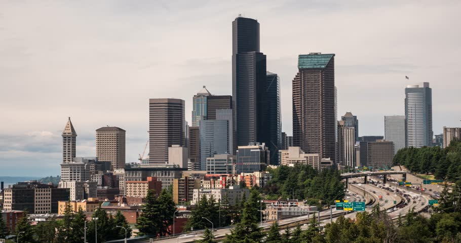 Hyperlapse of downtown Seattle on an overcast day | Shutterstock HD Video #1015835233