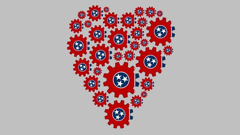 Gears with the Tennessee US state flag shaping heart