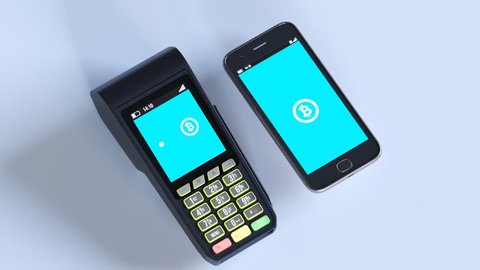 Wireless payment from smartphone to terminal. Bitcoins fast transferring between the bank accounts. Virtual currency modern electronic application effortless, international, worldwide technology.