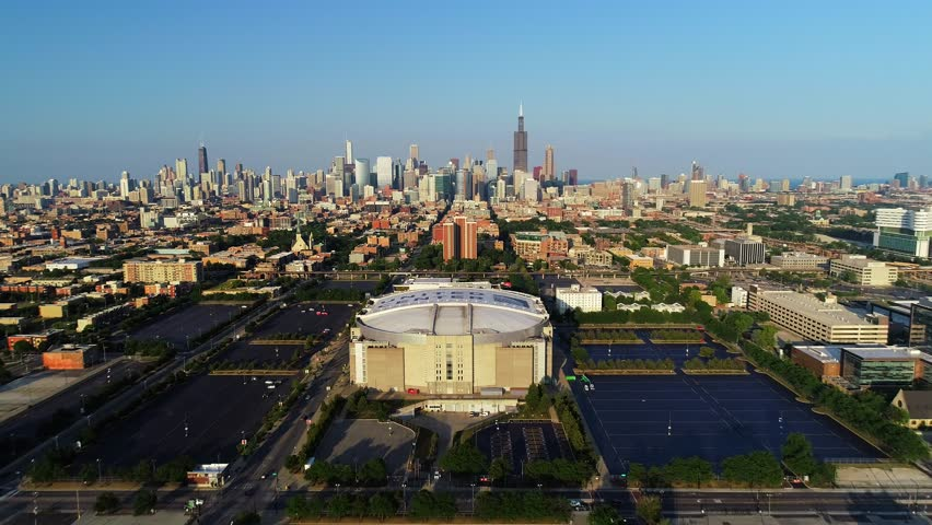 chicago bulkls united center panoramic 4k