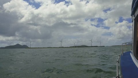 View Of Windmills in Indian Ocean from the Boat, Mahe Island, Seychelles 1