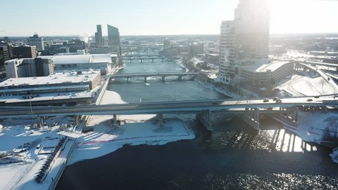 Aerial view over the bridge of the city of Grand Rapids, Michigan.