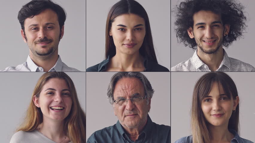 Collage of portraits smiling men and women | Shutterstock HD Video #1016067673