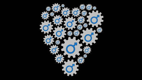 Gears with male symbols shaping heart