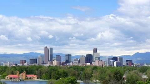 Blue sky and clouds over the downtown skyline of Denver, Colorado. 4K UHD time lapse. ProRes 422.