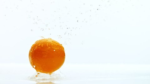 Fresh orange dropped into water with splash, shooted with high speed cinema camera at 1000 fps. 4K footage.