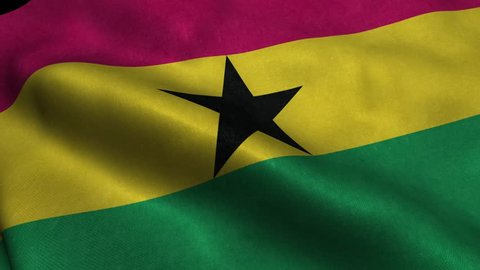 Photorealistic 4k Close up of ghana flag slow waving with visible wrinkles and realistic fabric. A fully digital rendering, 3D Animation. 15 seconds 4K, Ultra HD resolution ghana flag animation.