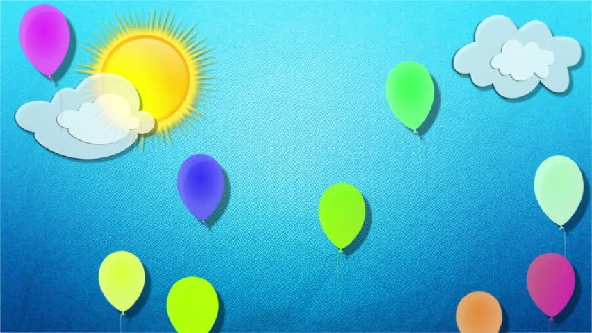 Balloons fly at blue textured background. Drawn clouds and sun, a lot of colorful balloons rise up in a loop. Cartoon animated FullHD background for children websites, channel and celebration video.