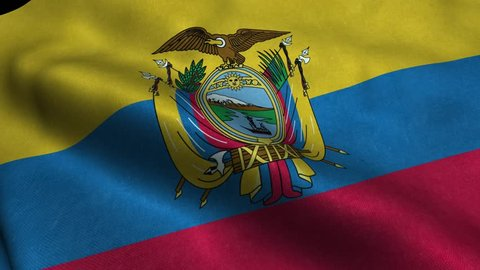 Photorealistic 4k Close up of ecuador flag slow waving with visible wrinkles and realistic fabric. A fully digital rendering, 3D Animation. 15 seconds 4K, Ultra HD resolution ecuador flag animation.