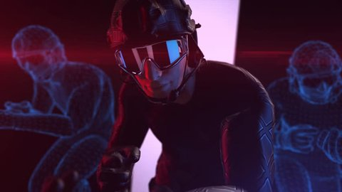 Athletic man wears futuristic combat suit and VR 360 headset training with virtual avatar for playing games in virtual reality, Concept future of humanity, 3D rendering animation.