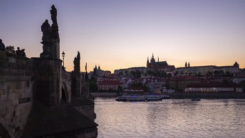 Timelapse of Prague old town with Charles Bridge in Prague city, Czech Republic day to night time lapse 4K