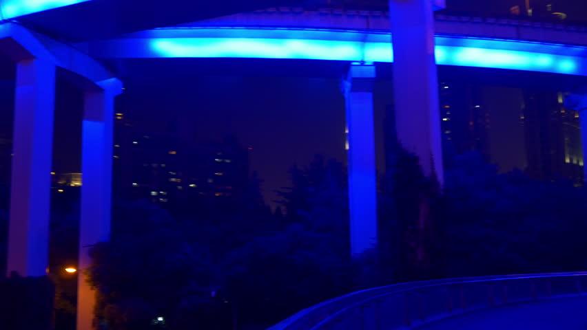 Night illuminated shanghai city traffic road junction panorama 4k china | Shutterstock HD Video #1016237833
