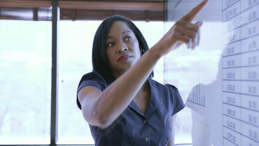 Handheld shot of businesswoman explaining data in meeting at board room