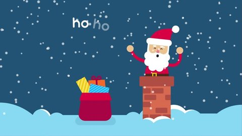 Santa Claus in a chimney on a snowy roof of cute house. Looping animation video in flat style, motion graphic with christmas concept. Greeting e-card with  text happy holidays