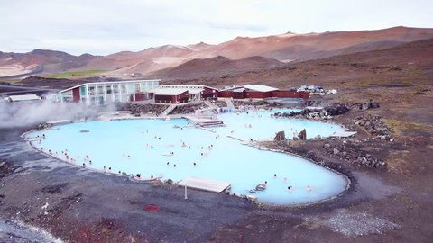 ICELAND - CIRCA 2018 - An aerial over a public thermal bath spa in Iceland, near Myvatn. Editorial use only.