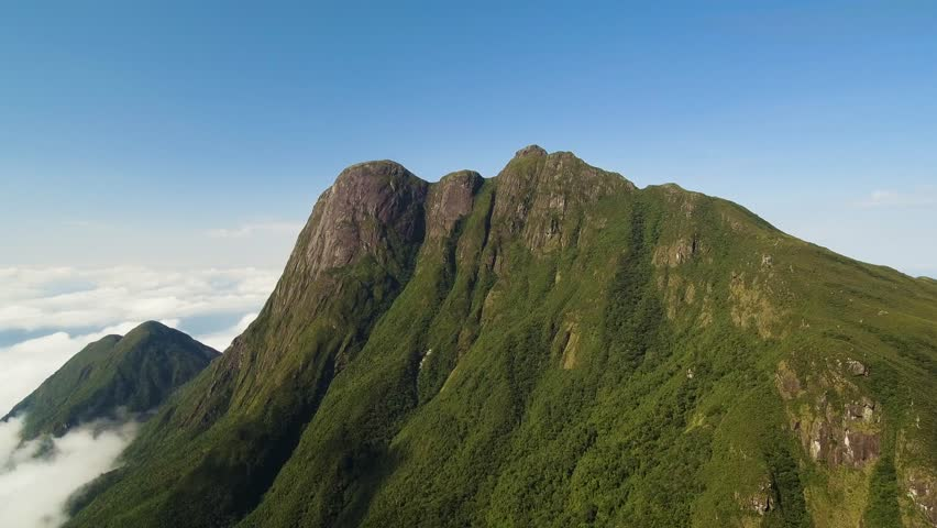 Aerial view of the parana peak in brazil, on a day of strong sun and clear sky. highest mountain in southern Brazil at 1875 meters high